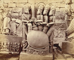Close view of sculpture of Kurmavatara (tortoise incarnation of Vishnu), Garhwa, Allahabad District